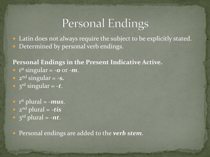 Personal Endings