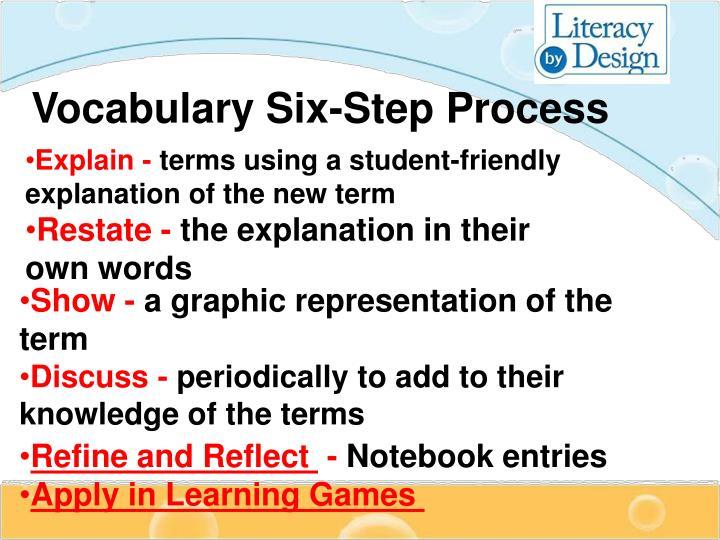 Vocabulary Six-Step Process