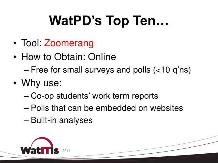 Watpd s top ten1