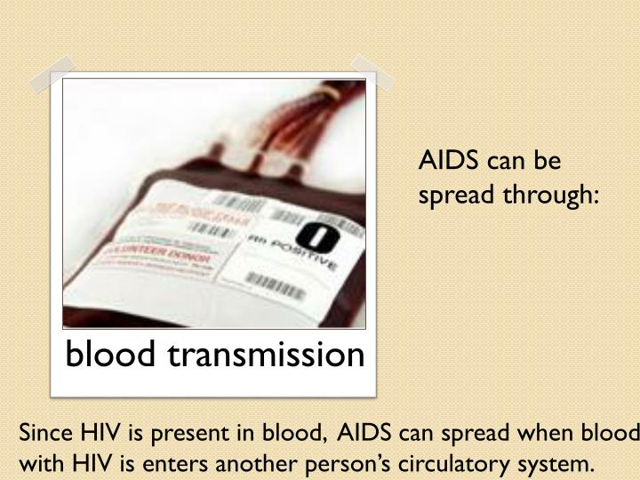 AIDS can be spread through: