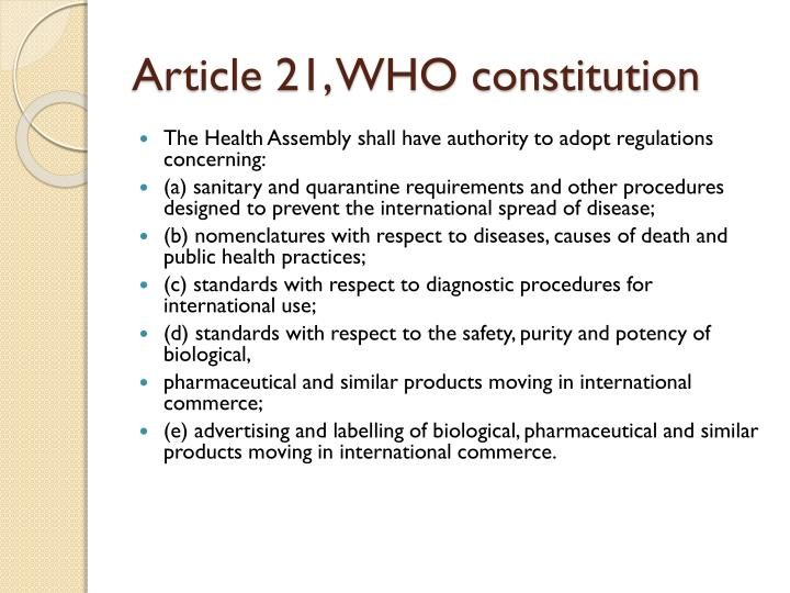 Article 21, WHO constitution