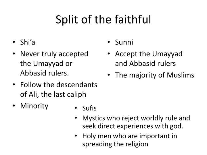 Split of the faithful