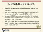 research questions cont