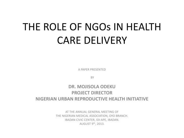the role of ngos in health care delivery n.