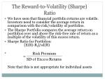 the reward to volatility sharpe ratio