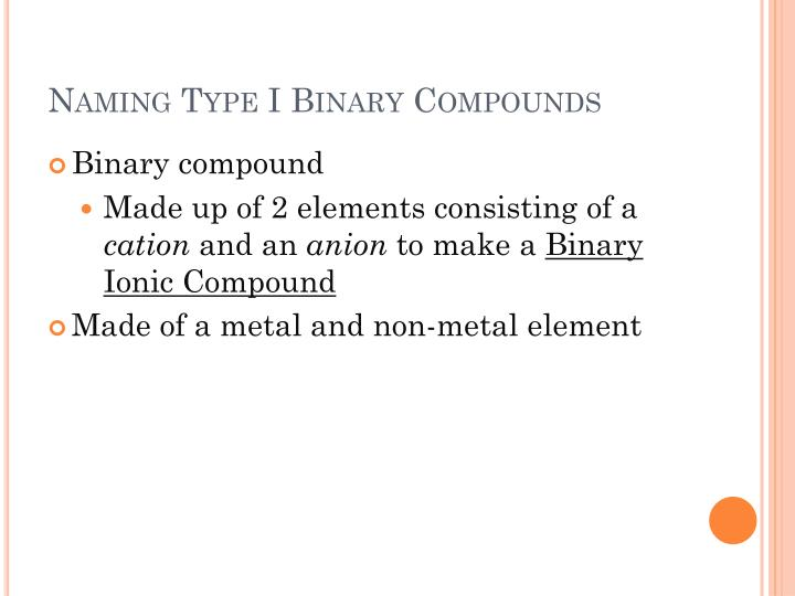 Naming type i binary compounds