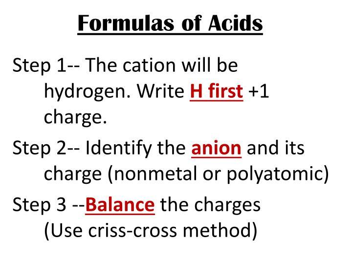 Formulas of Acids