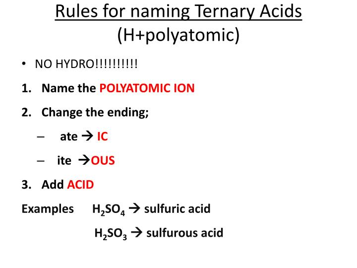 Rules for naming Ternary Acids