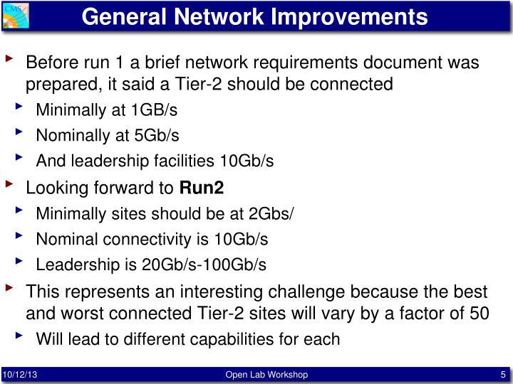 General Network Improvements