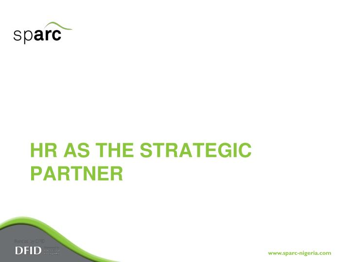 HR as the Strategic Partner