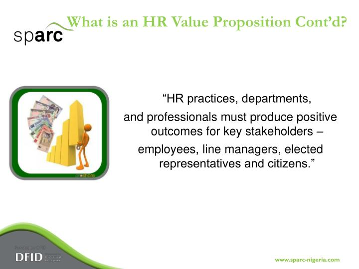 What is an HR Value Proposition Cont'd?