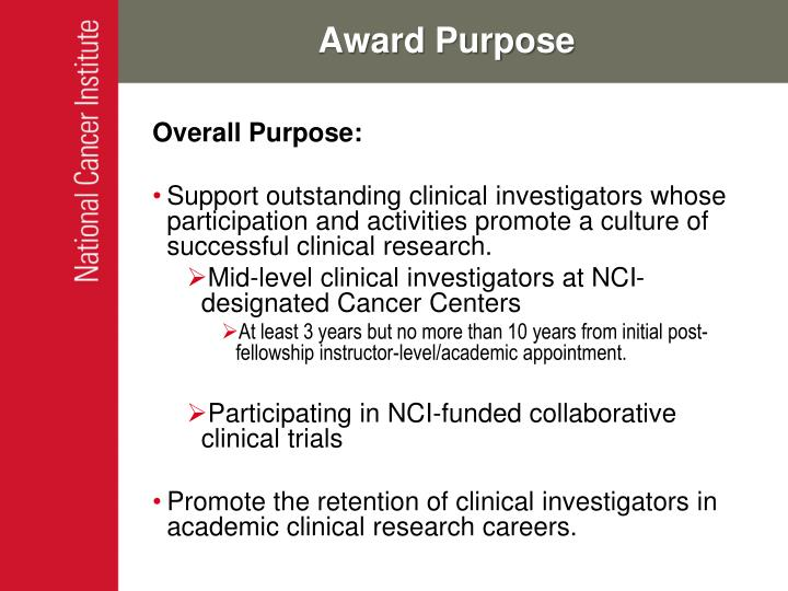 Award purpose