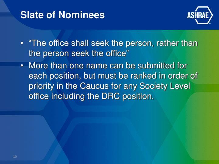 Slate of Nominees