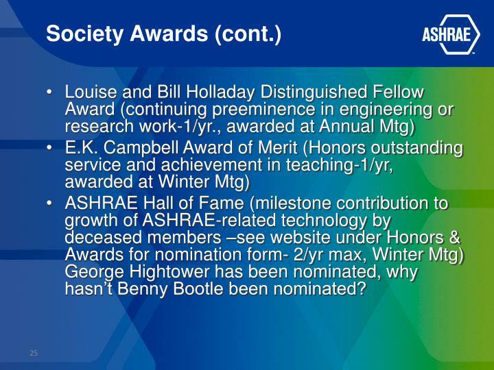 Society Awards (cont.)