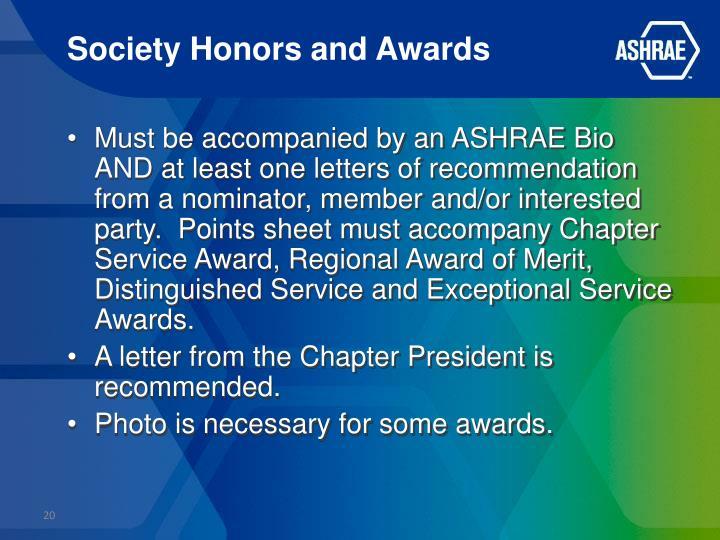 Society Honors and Awards