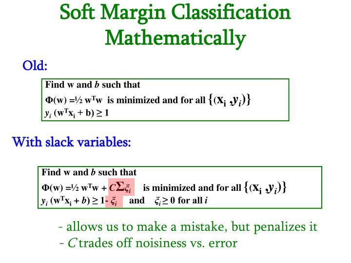 Soft Margin Classification Mathematically