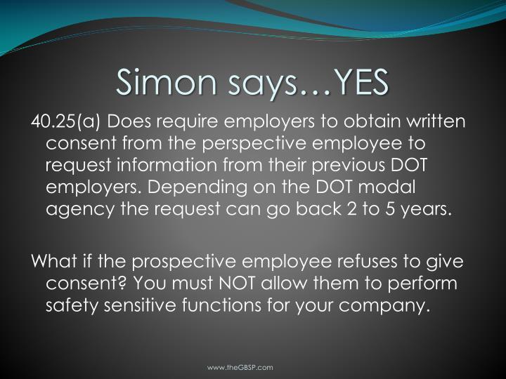 Simon says…YES