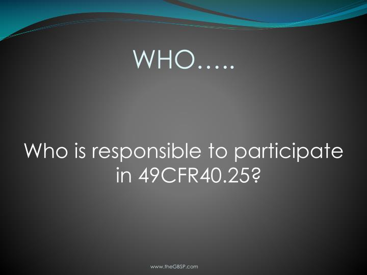 WHO…..