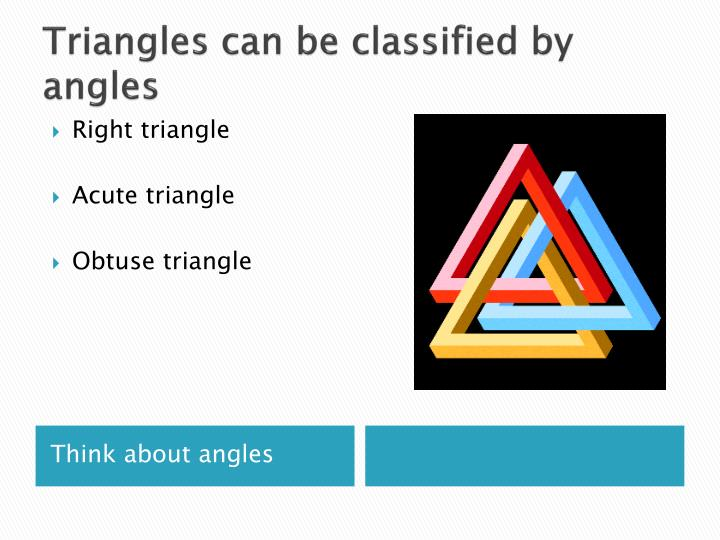 Triangles can be classified by angles