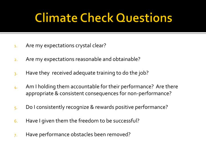 Climate Check Questions
