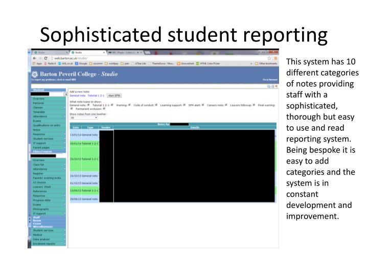 Sophisticated student reporting