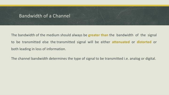Bandwidth of a Channel