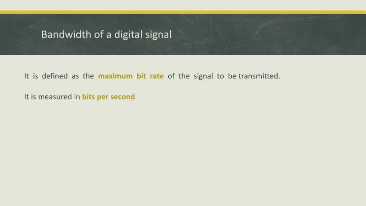 Bandwidth of a digital signal