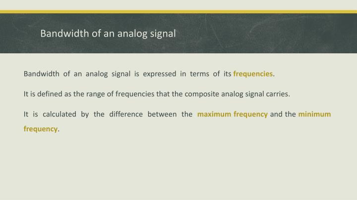 Bandwidth of an analog signal