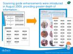 scanning guide enhancements were introduced in august 2009 providing greater depth of information