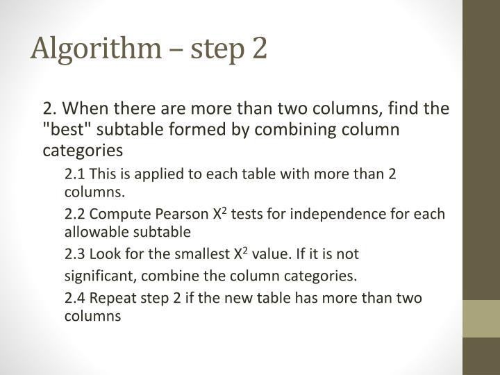Algorithm – step 2