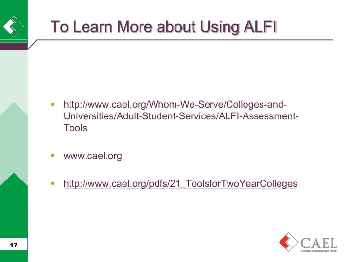 To Learn More about Using ALFI