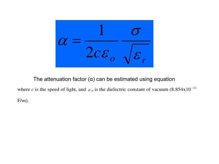The attenuation factor (α) can be estimated using equation