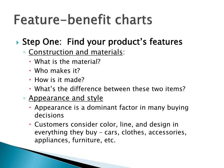 Feature-benefit charts