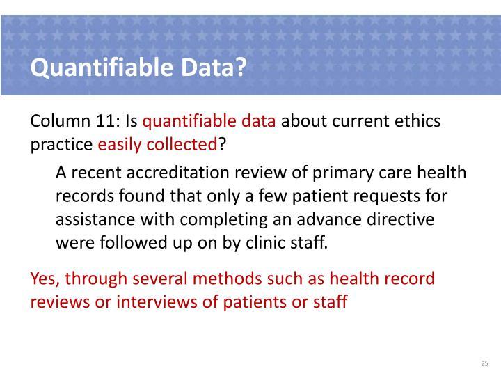 Quantifiable Data?