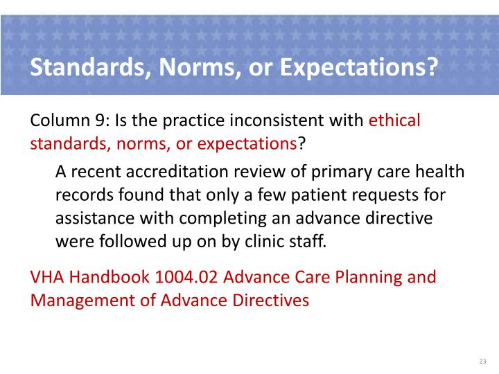 Standards, Norms, or Expectations?