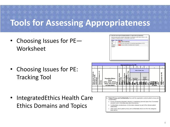 Tools for Assessing Appropriateness