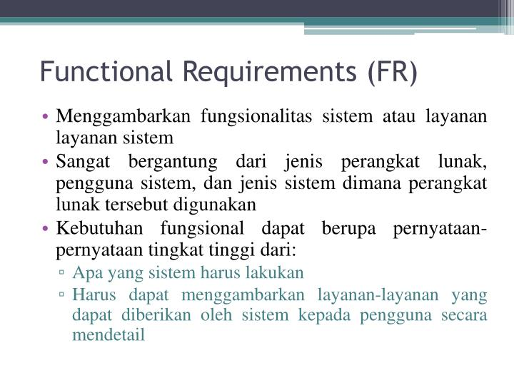 Functional Requirements (FR)