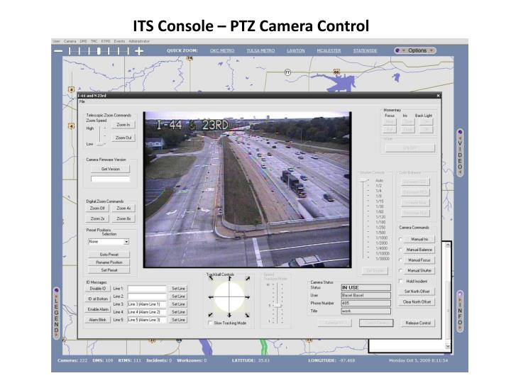 ITS Console – PTZ Camera Control