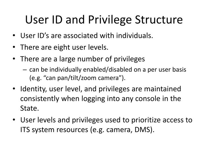 User ID and Privilege Structure