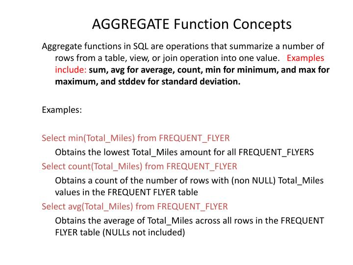 Aggregate function concepts
