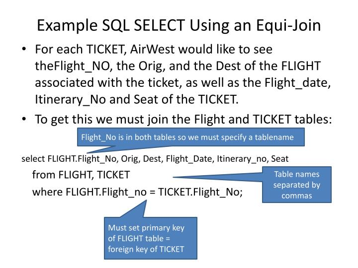 Example SQL SELECT Using an
