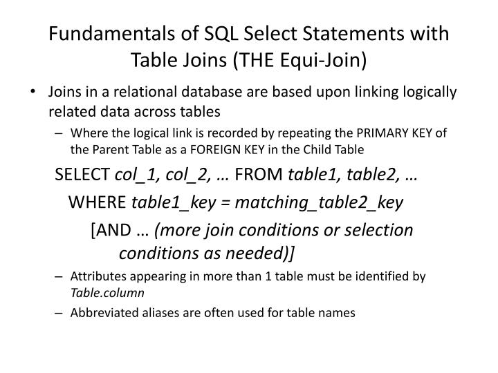 Fundamentals of SQL Select Statements with Table Joins (THE Equi-Join)