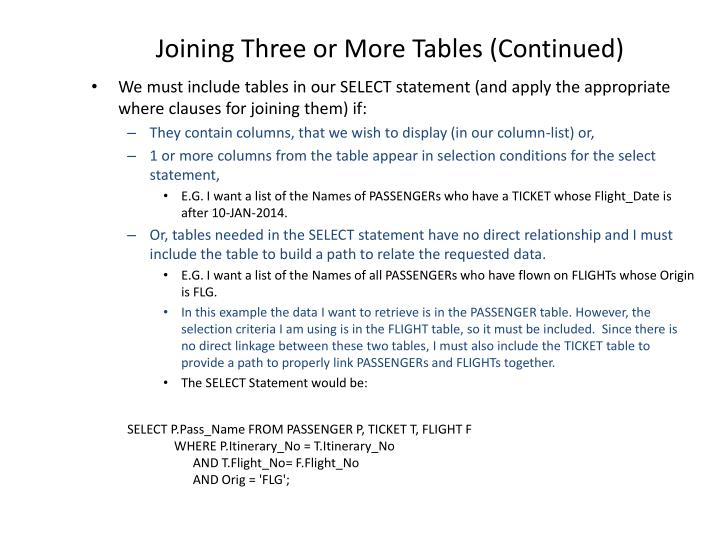Joining Three or More Tables (Continued)