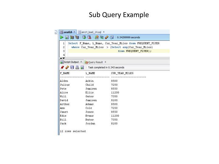 Sub Query Example