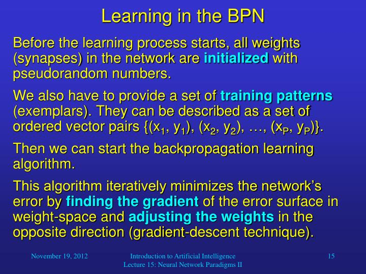 Learning in the BPN