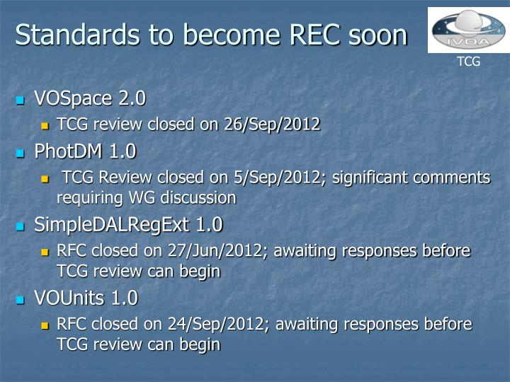 Standards to become REC soon