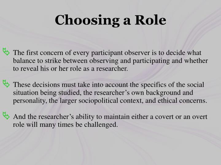 Choosing a Role