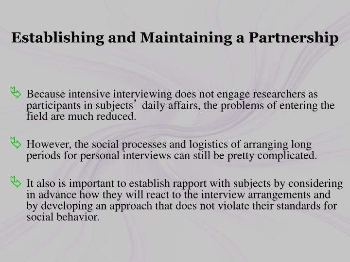 Establishing and Maintaining a Partnership