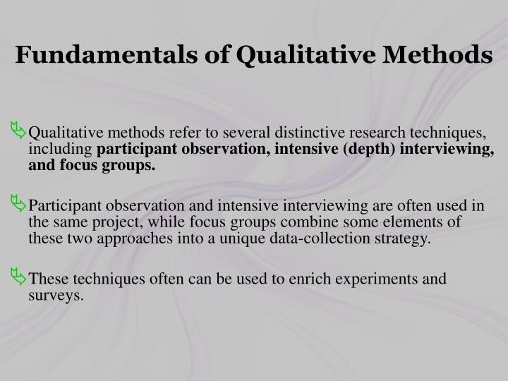 Fundamentals of Qualitative Methods