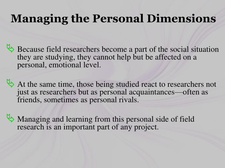 Managing the Personal Dimensions